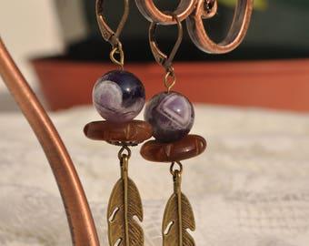 Amethyst earrings, Horn, bronze metal.