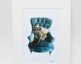 Border Terrier on Armchair Print