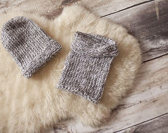 Hat and Snood color gray white set boy