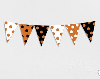Halloween Garland, Bunting, Banner, trick or treat, Orange, Black, White, Polka dots, Instant Download, printable,