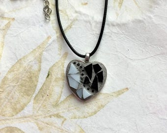 Mosaic Heart Pendant/Mosaic Jewelry/Glass Necklace Pendant/Wearable Art/Gift for Her Under 20/Mosaic Gift