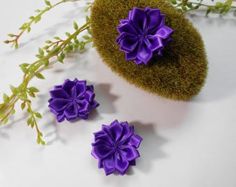 Flower purple satin - 4cm - sold individually