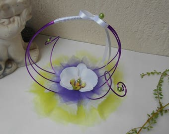 Original ring holder - white, lime green and Purple - Orchid