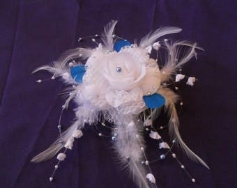 Headpiece comb bridal blue and white