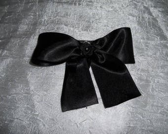 Black bow and black flower hair clip