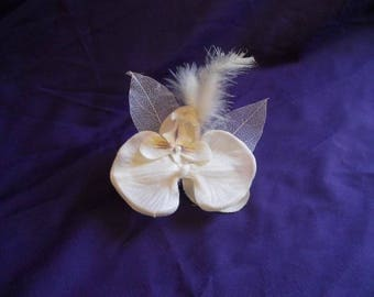 Back train, brooch or boutonniere ivory