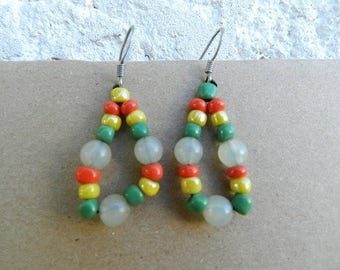 Multi-color glass bead earring