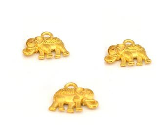 3 Gold elephant charms