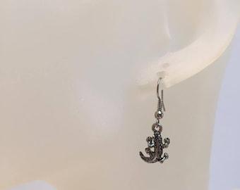 Lizard salamander earrings silver