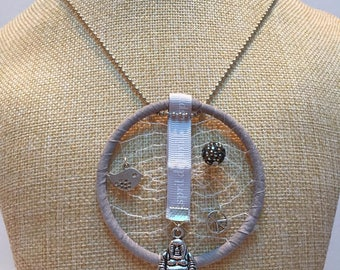 DreamCatcher grey Buddha necklace