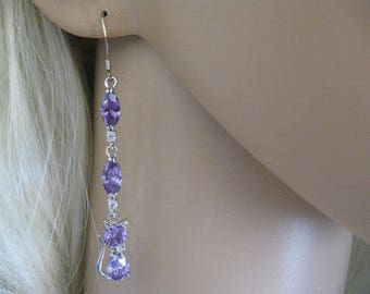 """Earrings """"Double Marquise Amethyst with small cats"""""""