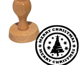 Wood Merry Christmas stamp