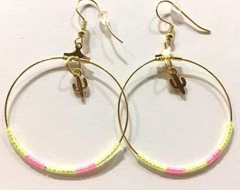 Cactus fluorescent beads hoop earrings