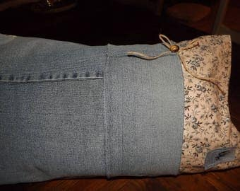Liberty fabric and recycled denim pillow cover