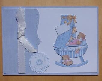 card image 3D Ribbon Teddy bear and baby boy birth