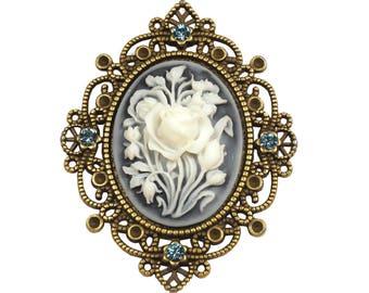 Flower Bouquet cameo brooch