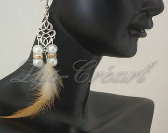 September - the roaring twenties challenge. Earrings dangling feathers