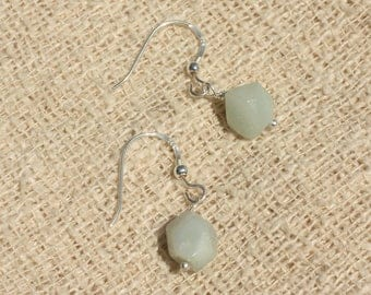925 Silver - 9mm faceted Amazonite earrings