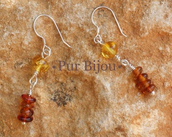 Earrings 40mm Baltic amber and 925 sterling silver