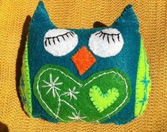 sleepy teal and green plush felt owl
