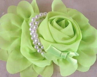 1 green flower with pearls 13 CMS applique for sewing or craft