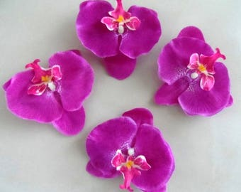 set of 4 appliques orchids flowers with clip 9 cm