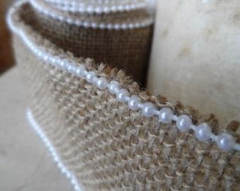 2 metres of Ribbon burlap 100% natural 60 mm