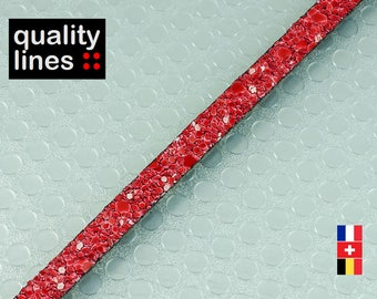 X 1 M, 5mm flat leather red glitter, red leather by the yard