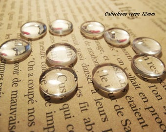 10 transparent glass cabochons 12 mm