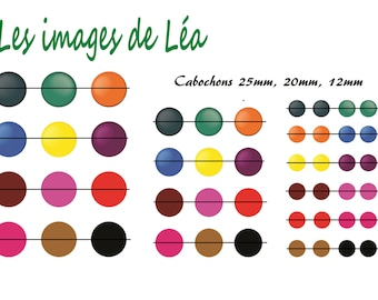 United 1: print of digital images for cabochons 25mm, 20mm and 12mm