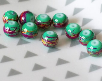 Set of 10 painted glass, green, 6 mm beads