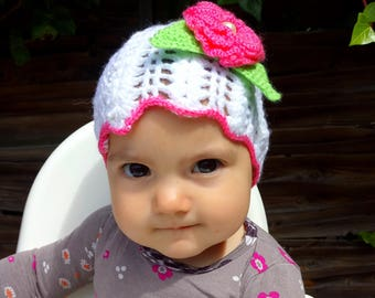 white and pink crochet baby hat/handmade beautiful sweety hat for baby girl with a flower /lovely touch/ready to ship/
