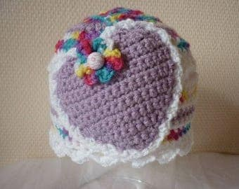 Baby girl: spring bonnet openwork and colorful, 3/6 months