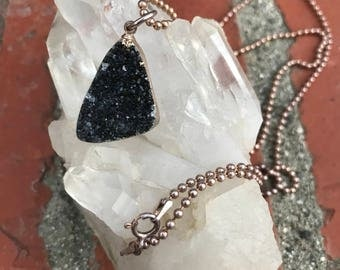 Black druzy crystal necklace
