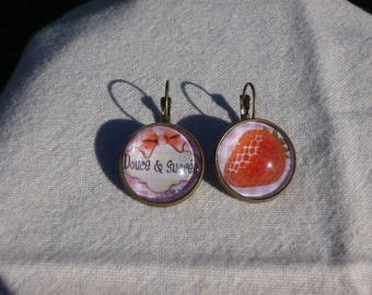 "Balls earrings ""soft and sweet"" and ""Strawberry"""