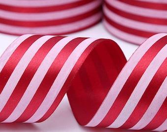 Satin ribbon has red & pink stripes