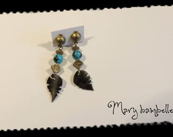 Earrings stone leaf with recycled tractor inner