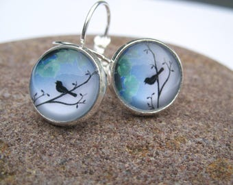 "Earrings cabochon ""bird on branch"" theme"