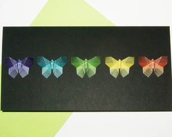 Five butterflies multicolor on black paper card
