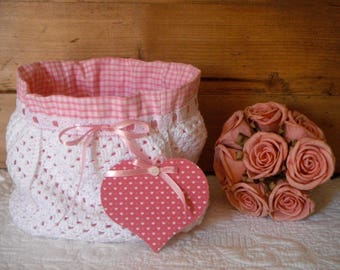 Crocheted pouch and pink gingham with his heart to hang with