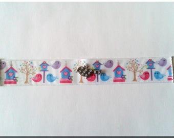 Fabric bracelet birds and birdhouses and bird charm