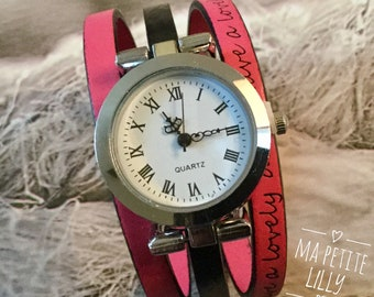 Watch size XS.  Wristwatch leather round silver black and pink Have a lovely day