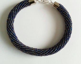 Blue spiral crochet bracelet