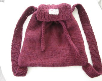 Small backpack kids, plum wool, lined with cotton