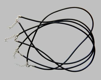Set of 4 full 2mm black rubber cord necklaces