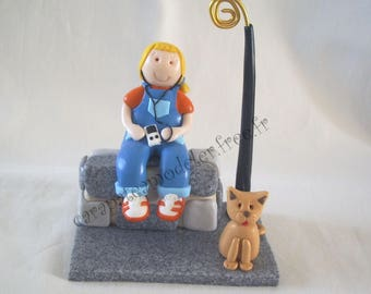 Picture holder girl in overalls that listens to music