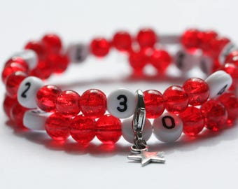 Nursing bracelet on memory wire form of 55mm with glass beads Crackle dark red
