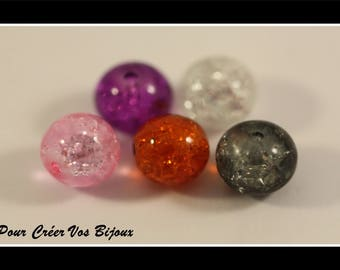 Set of 10 glass Crackle 8 mm beads in different colors