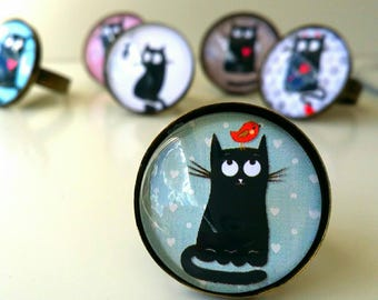 Funny Vintage Retro Style round ring # FUNNYCAT # Cabochon COLLECTION