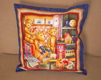Pattern printed cushion three teddy bears
